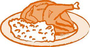 Zeichnung eines Brathuhns auf einem Teller, daneben Reis