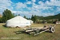 Weißes Zelt in einer Wiese